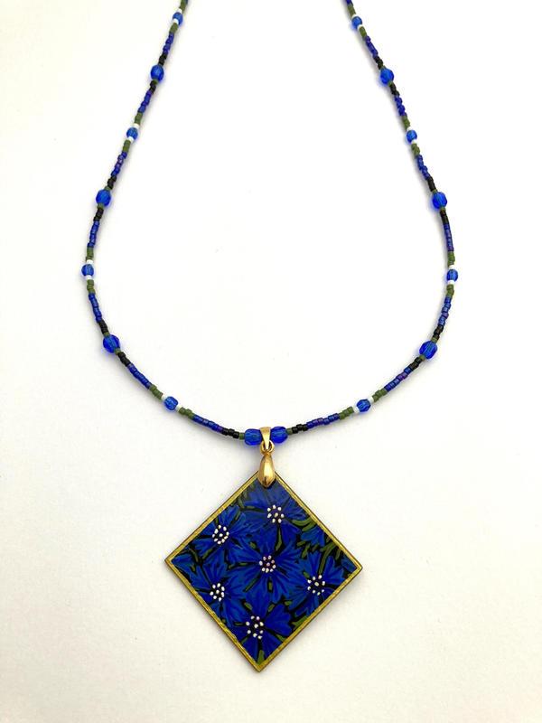 Cornflower necklace - hand painted (46cms pendant 4x4cms) £49