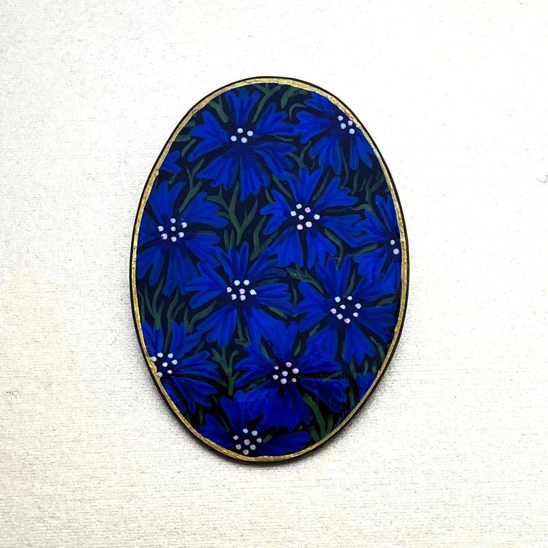 Cornflower - hand painted brooch (5.5 x 3.5 cms) £30