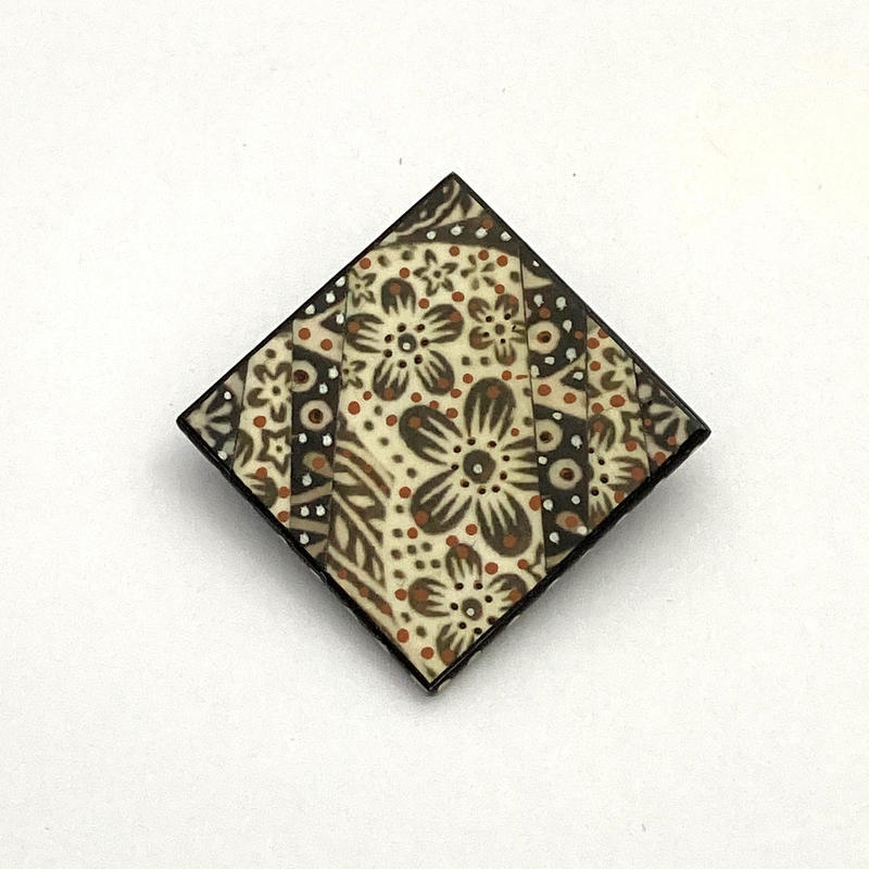 Indian woodblocks brooch - photomontage/hand painted (3x3 cms) £28