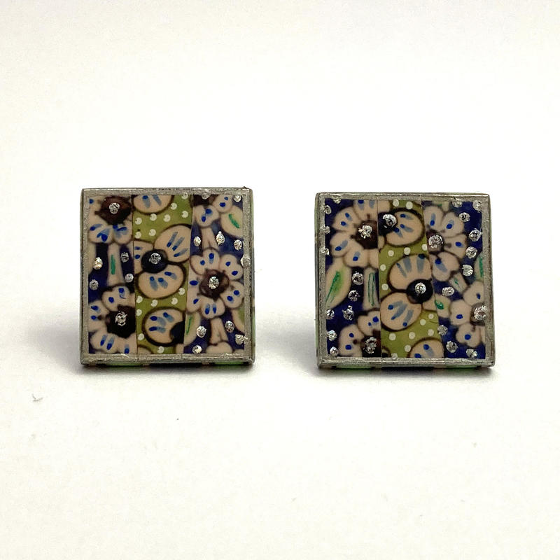Syrian tiles  stud earrings - photomontage/hand painted (1.5x1.5 cms) £25