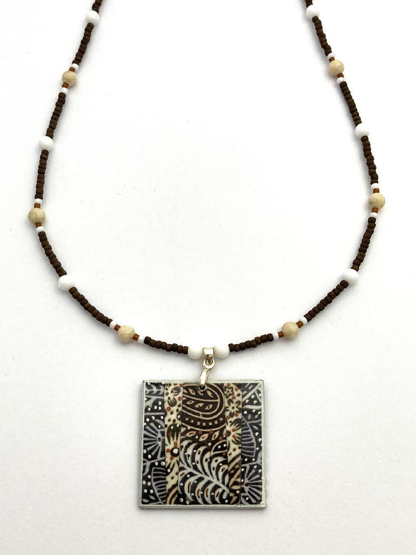 Indian woodblocks necklace - photomontage/hand painted (47cms pendant 3x3cms) £49