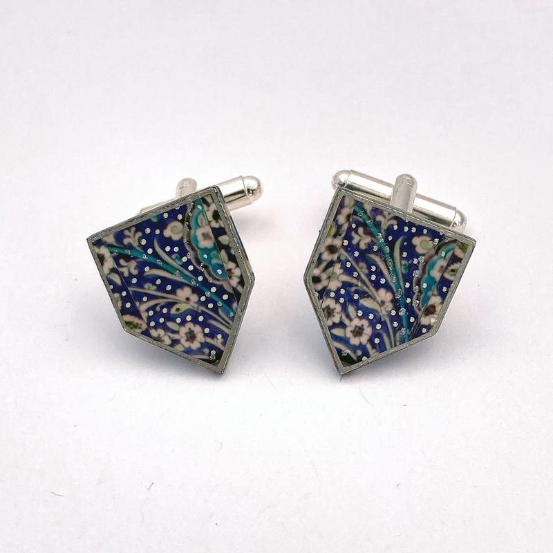 Syrian tile cufflinks - photomontage/hand painted (2x1.5cms) £33