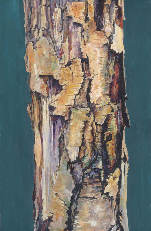 Bark. An acrylic painting, showing a flaky, brittle trunk