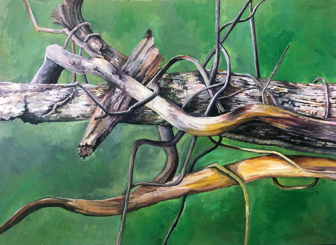 Remnants. Acrylic painting of a tangle of dead branches.
