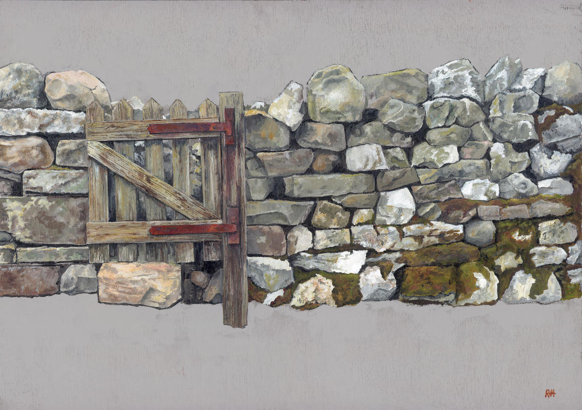 North Yorkshire. An acrylic painting of a dry stone wall, with moss and propped up gate.