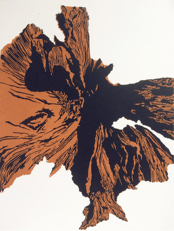 Upended Tree. A linocut, based on the end view of a dead tree, lying on its side.