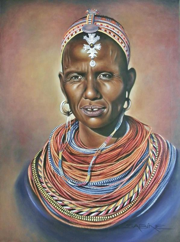SAMBURU WOMAN (AKA 1000 BEADS) Oil on Canvas 50 x 70cm, £650
