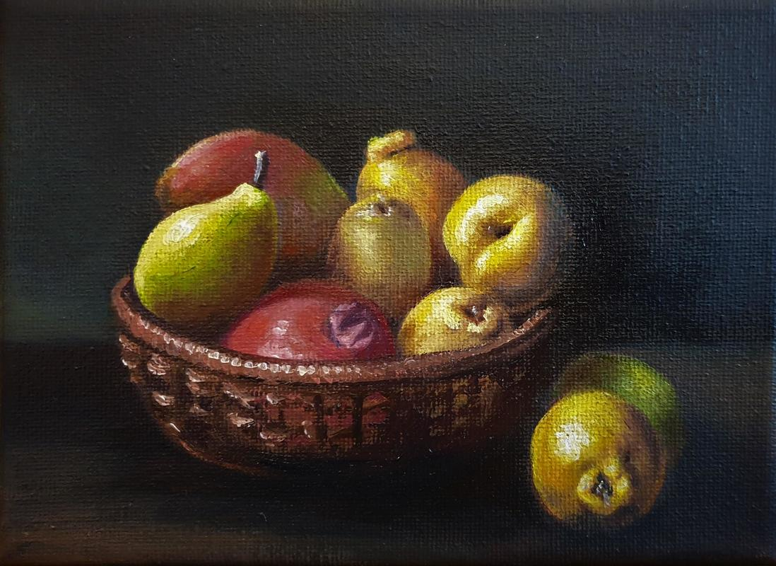 Fruit Basket, Oil on canvas 12cm x 17cm approx (5x7inches), £150