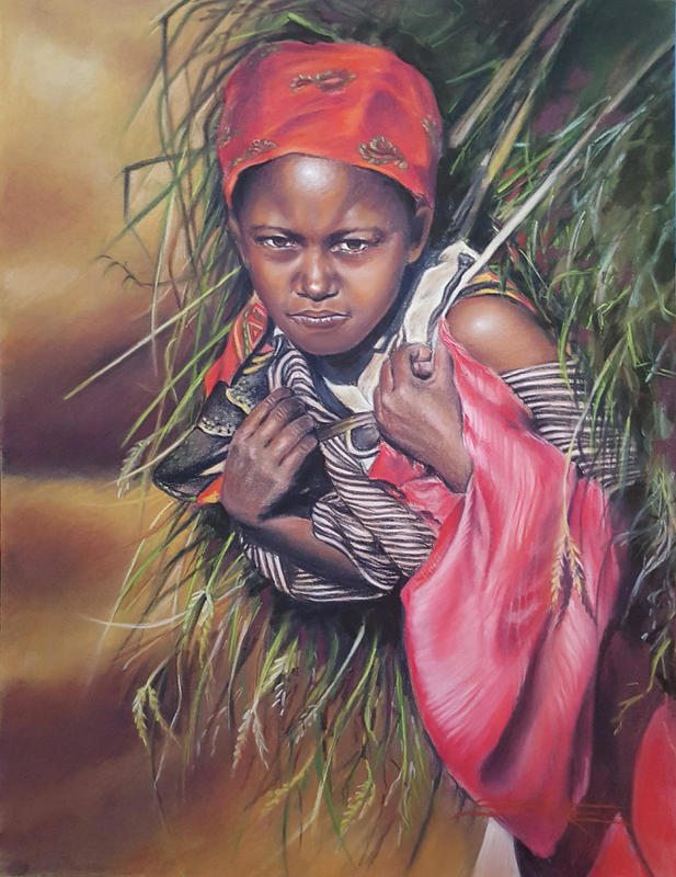 GIRL WITH HAY BALE Pastel on Pastelmat 30 x 40cm, SOLD