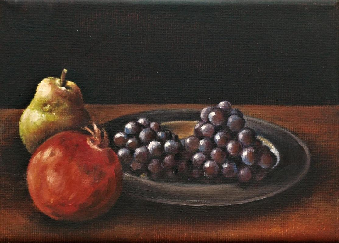Pomegranate and grapes, Oil on canvas 12cm x 17cm approx (5x7inches), £150
