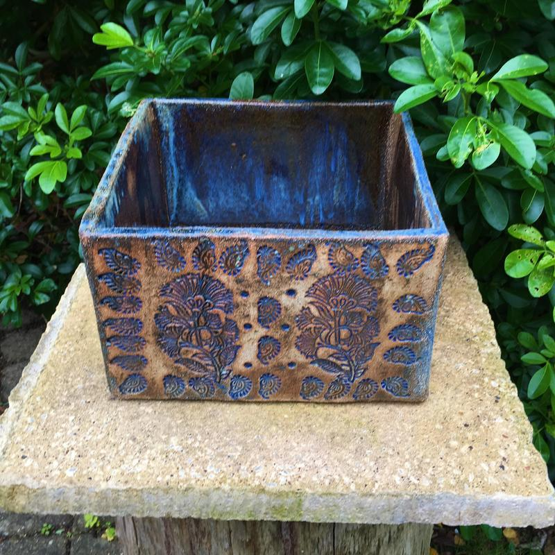 Large planter box, stoneware, stamp decoration, frost resistant