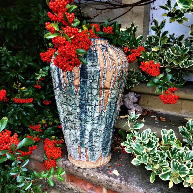 Large ali baba, stoneware, dry green glaze, frost resistant