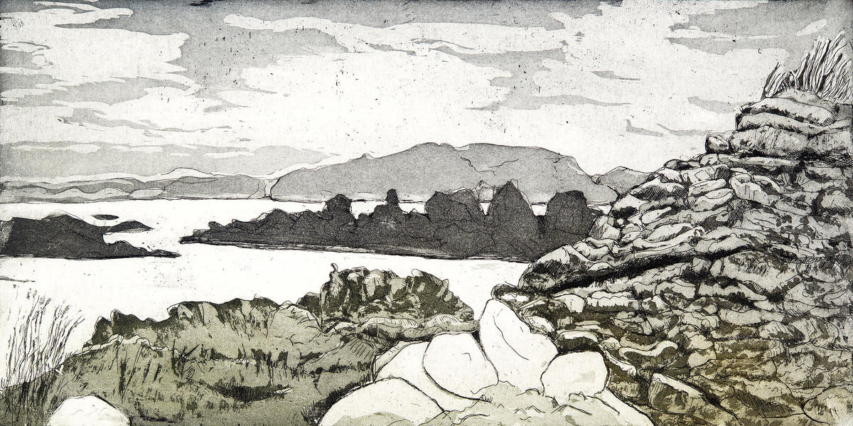 Holy island with ancient beehive cell, inner Hebrides