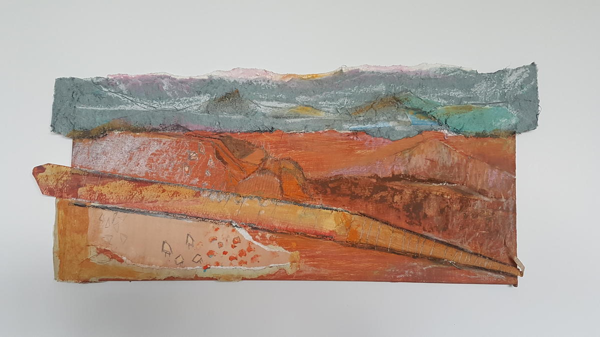 Train to Broken Hill, collage, 17x39cms, 2020
