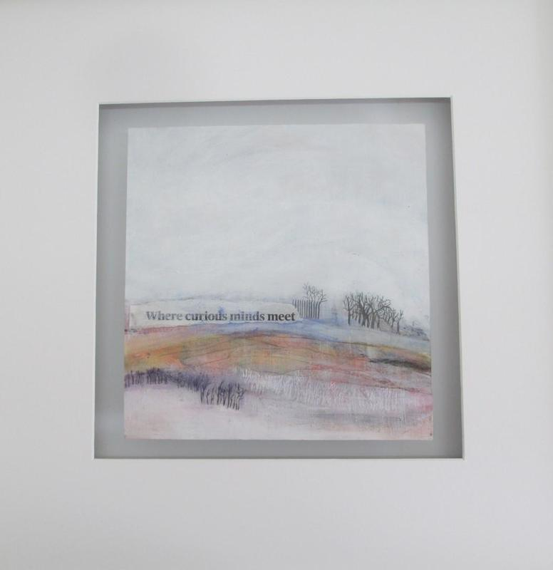 This image was lurking in the back of my mind when I found the text  'Where curious minds meet' I found this unfinished landscape which I hadn't resolved until I put the two together. 50 x50 float mounted £110.00