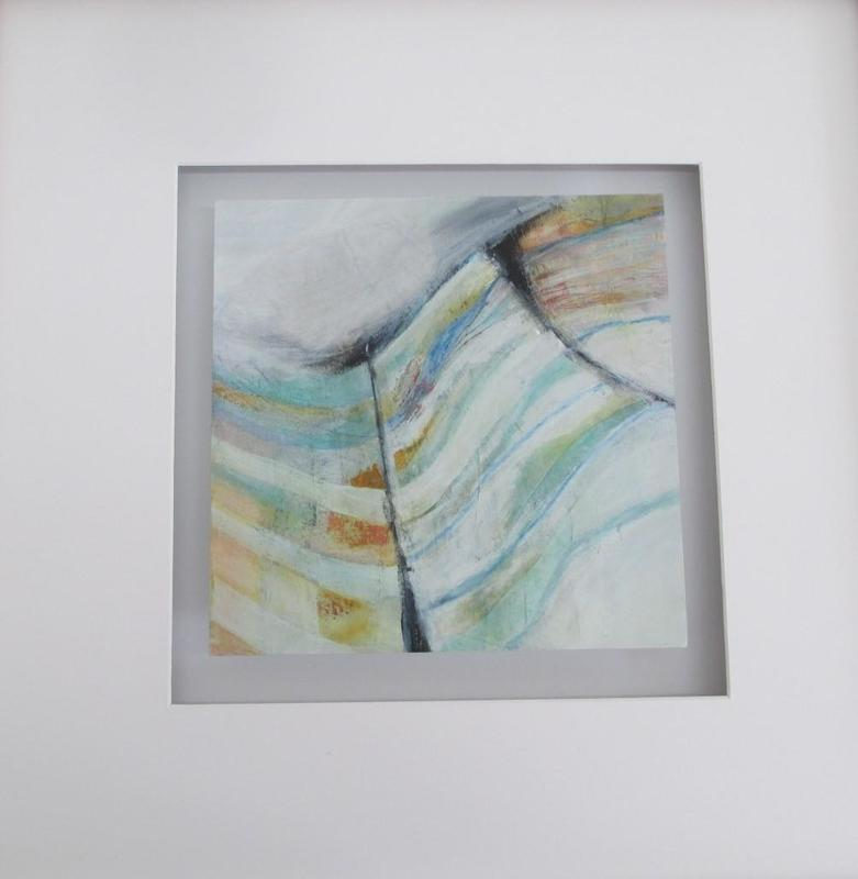 A semi-abstract giving a sense of calm and peace by using muted colours. My favourite part is when all the elements come together and connect. 50 x 50 float mounted £110.00