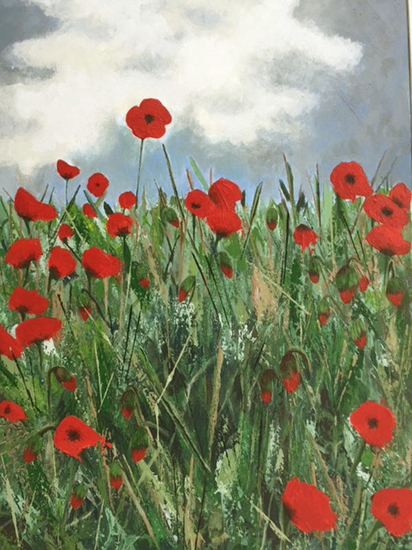 One of my favourites, it charmingly illustrates a British summer's day. The contrast of brillant red poppies with the depth of the olive green sings out loud capturing this moment in time. 57 x 74 £550.00