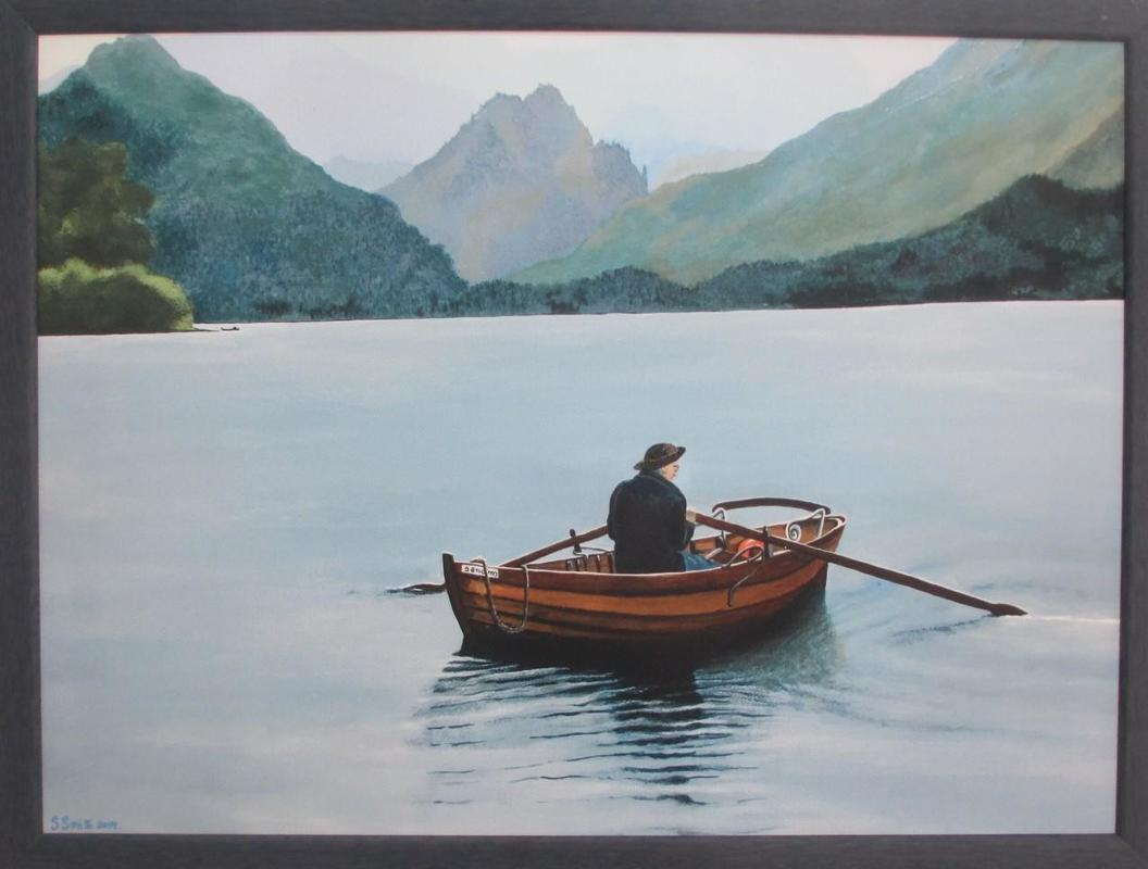 A piece from a photo taken on 'Ullswater' in the Lake District. A beautiful calm day is reflective of the smooth flat water capturing the ripples of the water. 50 x 40 £150.00