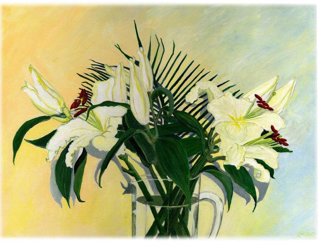 A beautiful selection of Lilies my daughter gave me. They are not easiest flower to capture as I wanted show the contrast of the dark leaves to the iridescent flowers. 43 x 33 £150.00
