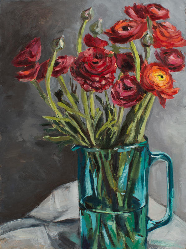 'Red Ranunculus in green vase' oil on panel, 13x9.5 inches