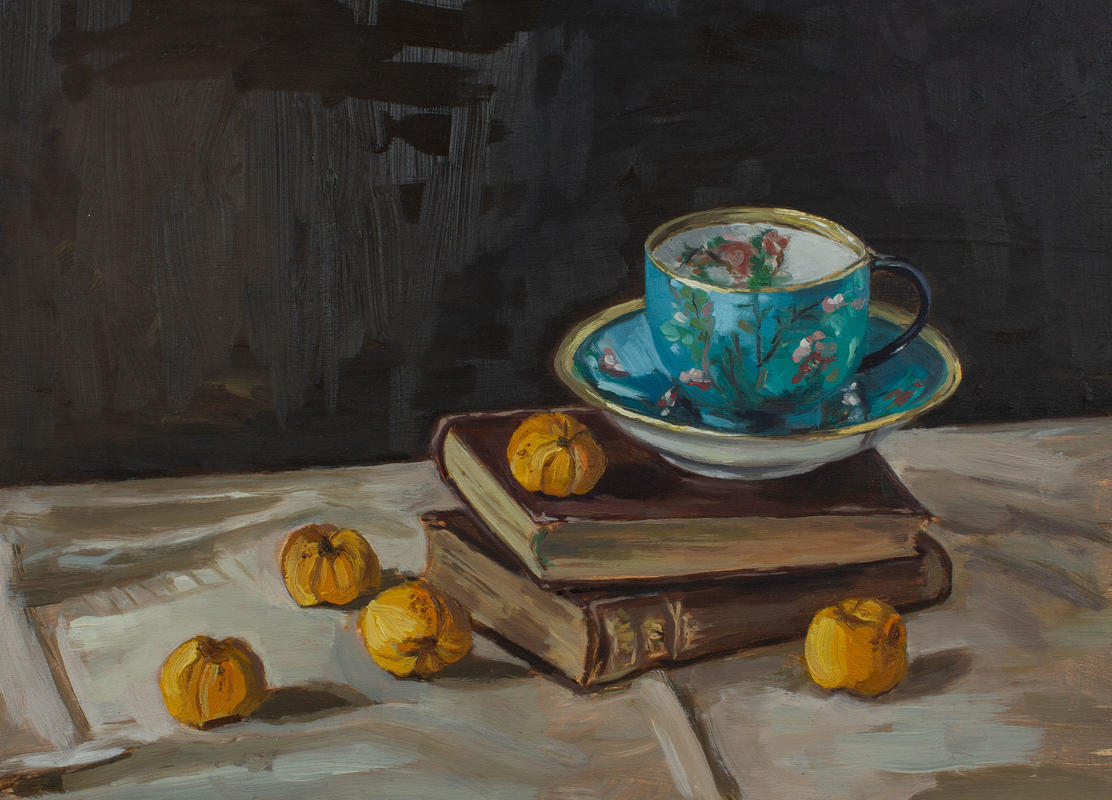 'Vintage tea-cup with quinces' oil on panel