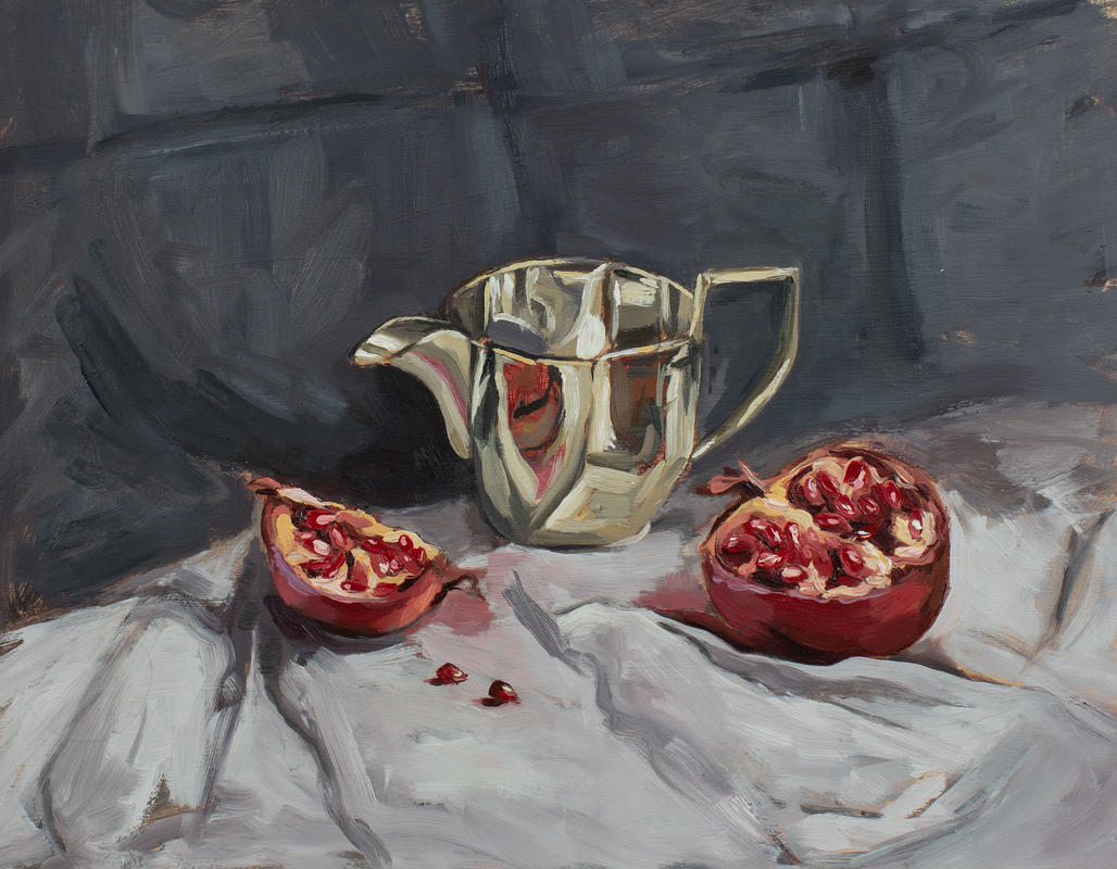 'Pomegranate and silver milk jug' oil on panel