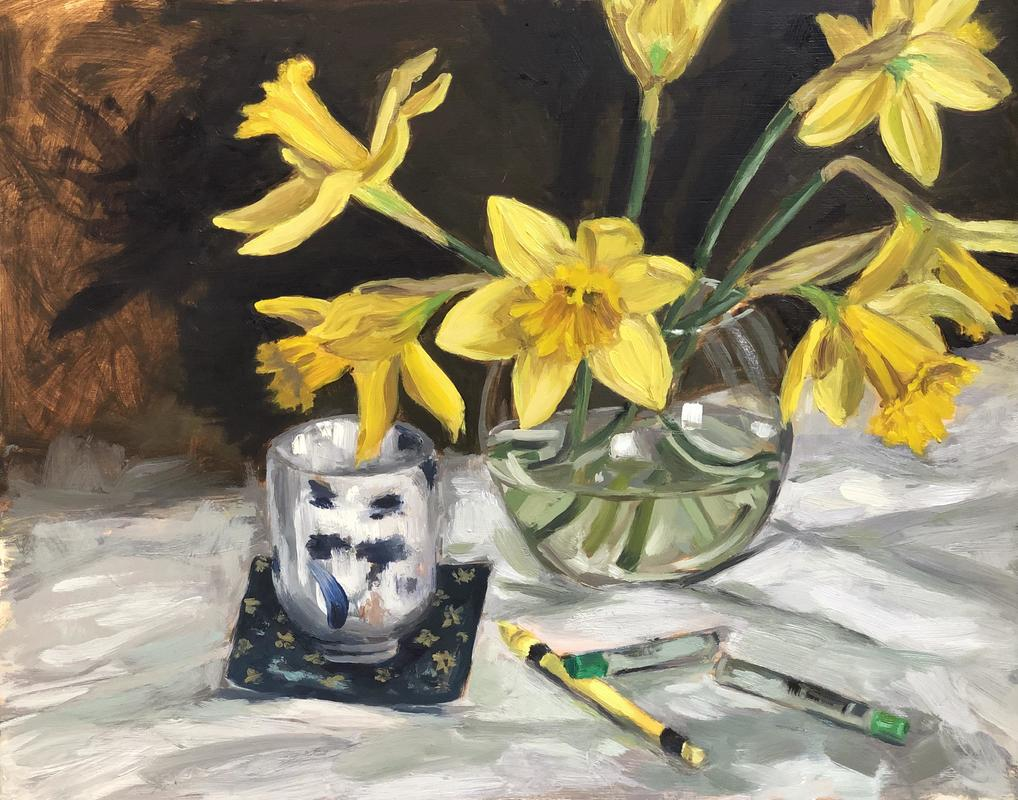 Daffodils, Japanese cup with oil pastels