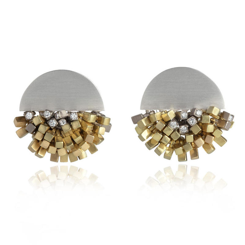 Diamond shower earrings, silver, 18ct gold and diamonds.