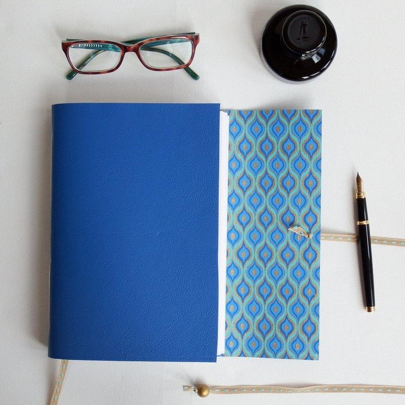Bright Blue A5 Leather Lined with Indian Cotton Paper £35