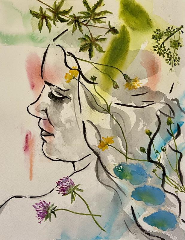 May blossom | 26 x 36cm | Watercolour, ink and collage