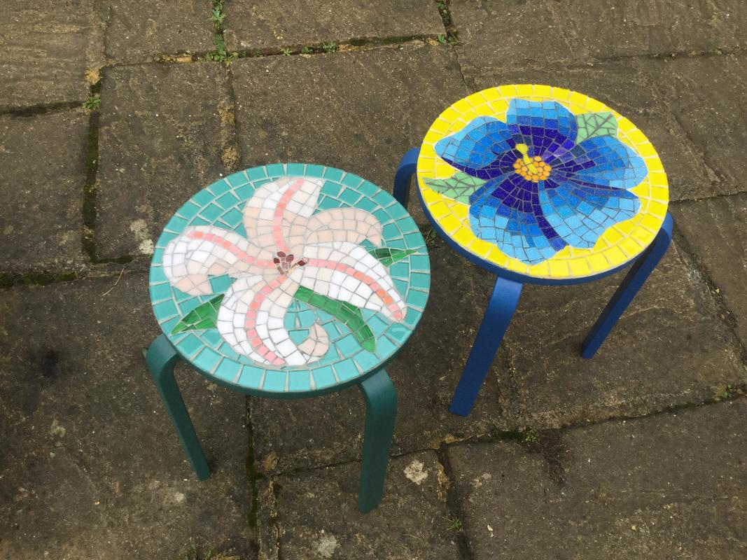 Glass on recycled tables