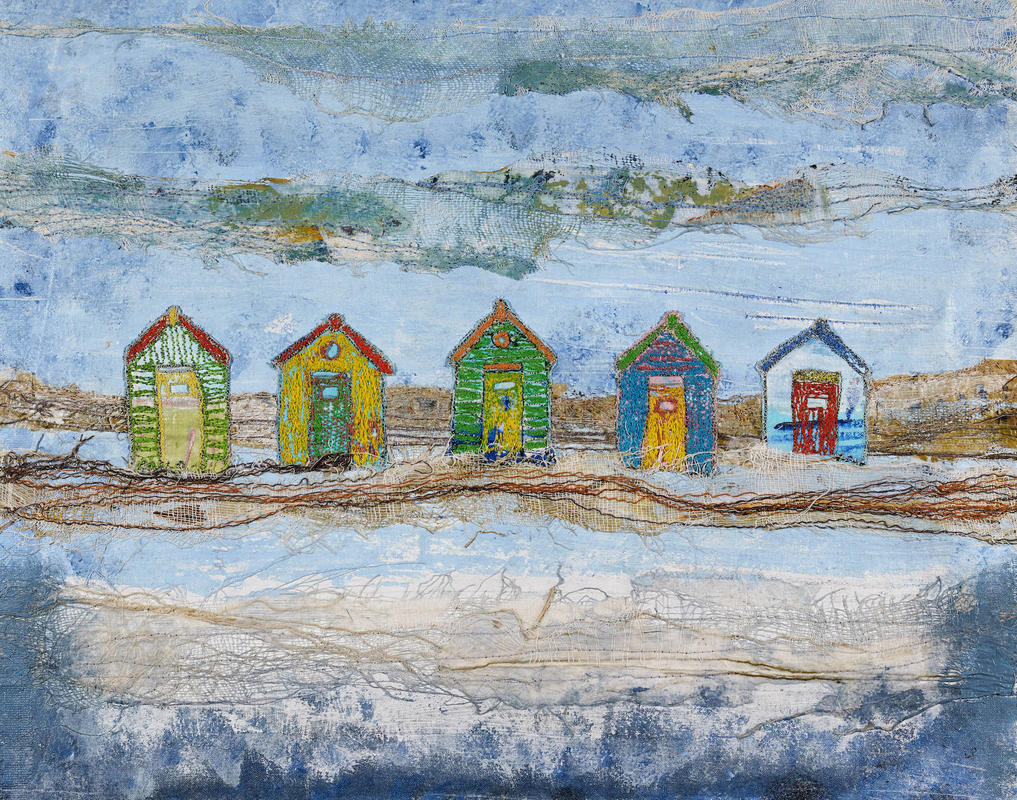 On the beach. 44x36 cm framed. Mixed media, £155.   Notelets also available @ 4 for £9