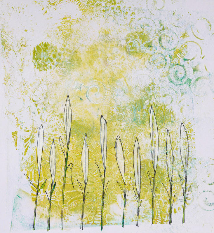 Standing tall. 35x35 cm framed. Monoprint and ink.  £35.