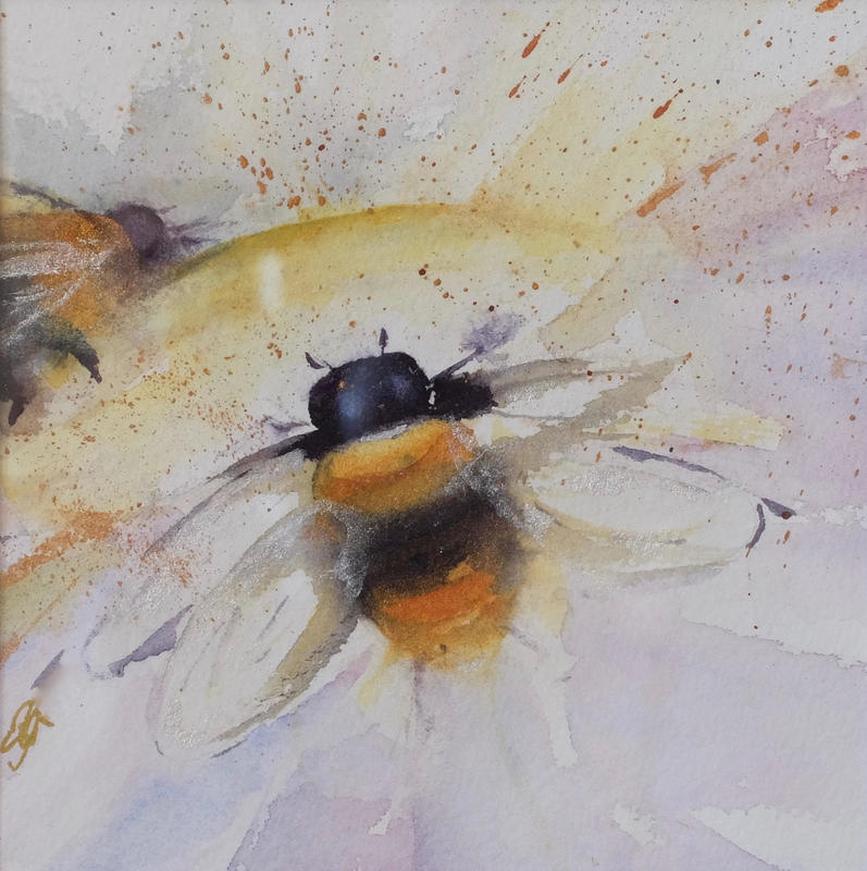 Bees - The Batteries of the Garden, Giclee Print of original Watercolour Painting with applied gold leaf, £40