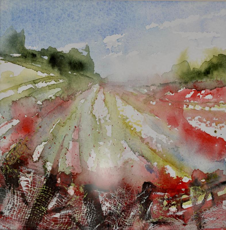 SOLD - Poppies on The Ridgeway, Mixed Media Painting in White wood frame