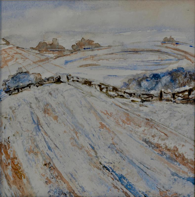 SOLD - Snowfall on Wittenham Clumps, Mixed Media Painting framed in White wood.