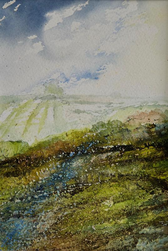 Hope, Cloud Break Over Brightwell Barrow, Oxfordshire, Mixed Media Painting, Image 19 x 13cm, Framed in White Wood, 30 x 24cm, £75