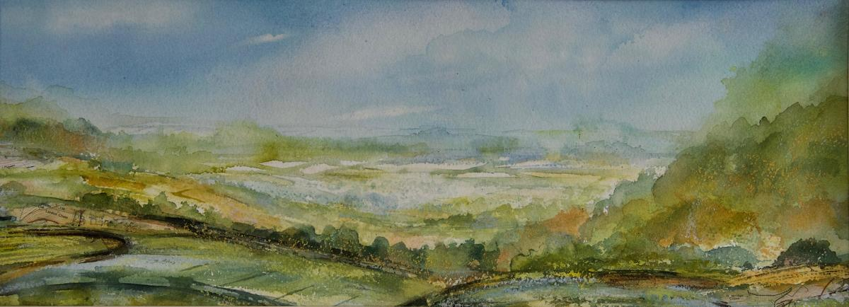 On Lardon Chase Breathing the Air, Oxfordshire Ridgeway, Mixed Media Painting with collage inc. area Ordnance Survey map, Image, 51 x 19cm, Framed in White Wood, 65 x 33cm, £195