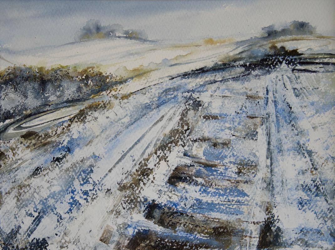 Snowfall at The Dig, Earth Trust (in the Shadows of Wittenham Clumps) Mixed Media Painting, Image, 36 x 27cm, Framed in White Wood 50 x 41cm, £175