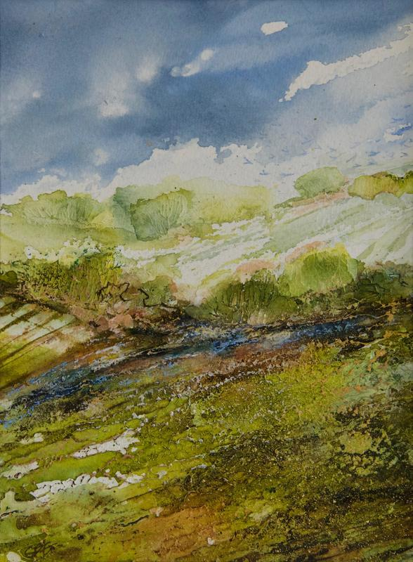 The Promise of Autumn's Colours, The Oxfordshire Ridgeway, Mixed Media Painting, Image, 21 x 15.5cm, Framed in White Wood 32 x 26.5cm, £95