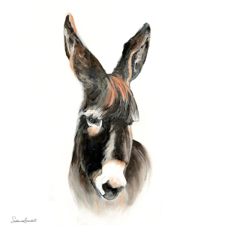 Donkeys on the Hill 1: Doodles.  Oil on wood block  40x20x3.5cms - not square £190
