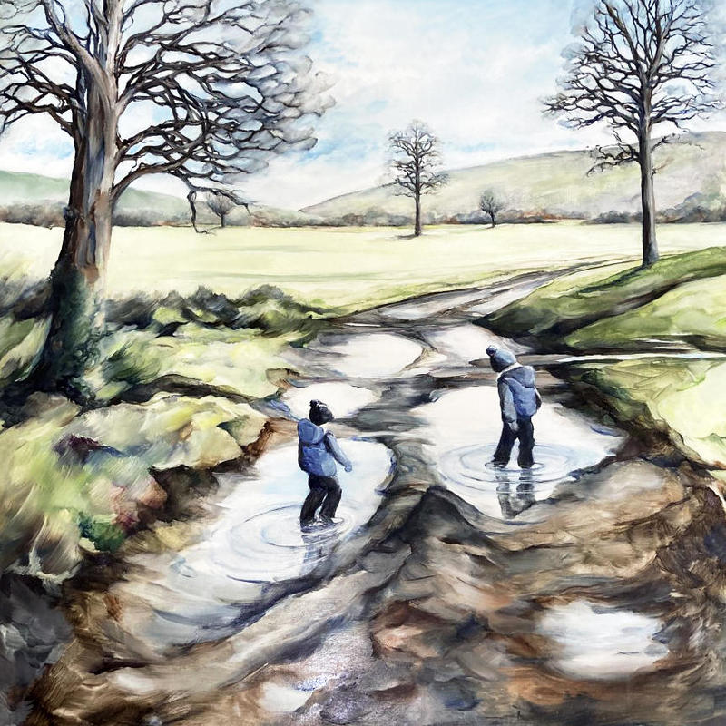 Puddle Path, oil painting on wood 55x55x2cms in white tray frame £295