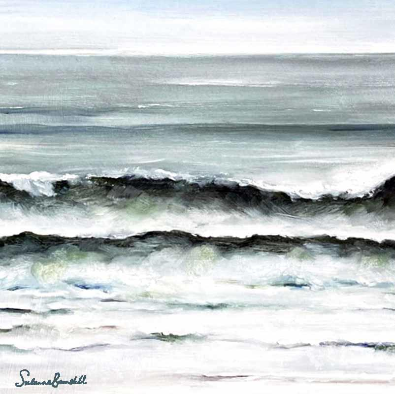 Waves.  Oil on board, mounted in white wood frame £160