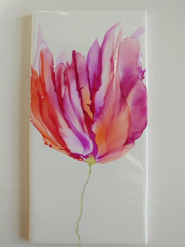 Alcohol ink tulip on a tile