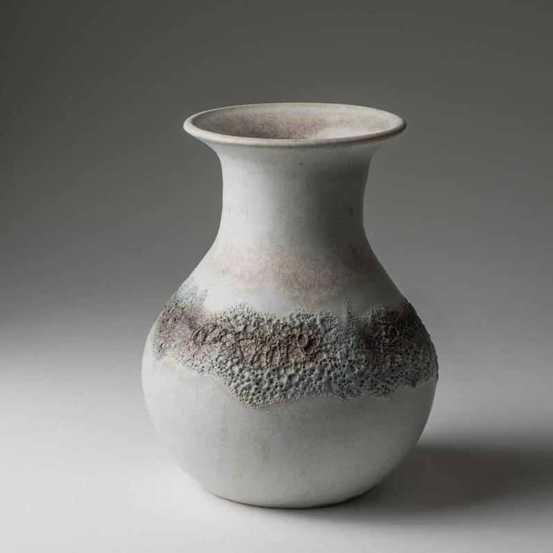 Large vase, band of volcanic glaze; 18cm tall; £58