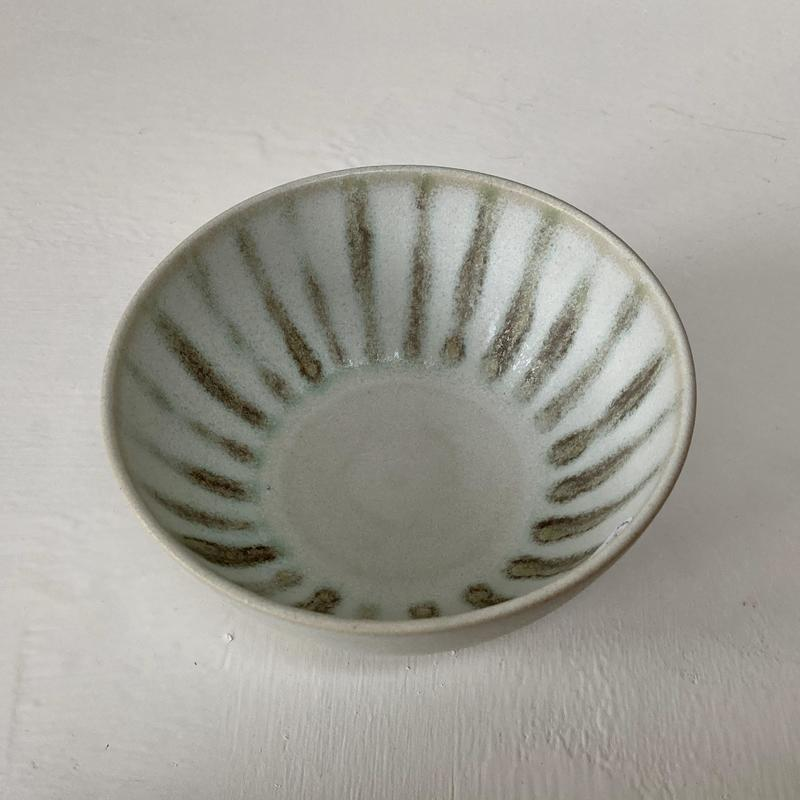 small bowl with green stripes