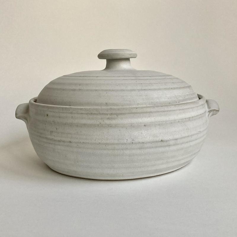 Large ovenproof casserole; £95; 25cm d x12cm h plus knob; £95