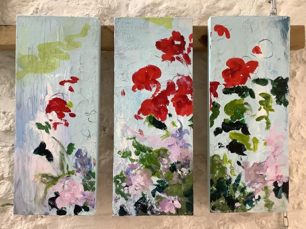 'geranium triptch 1' 2019. 50 x 20 cms each canva. £150 each (£300 the triptych)