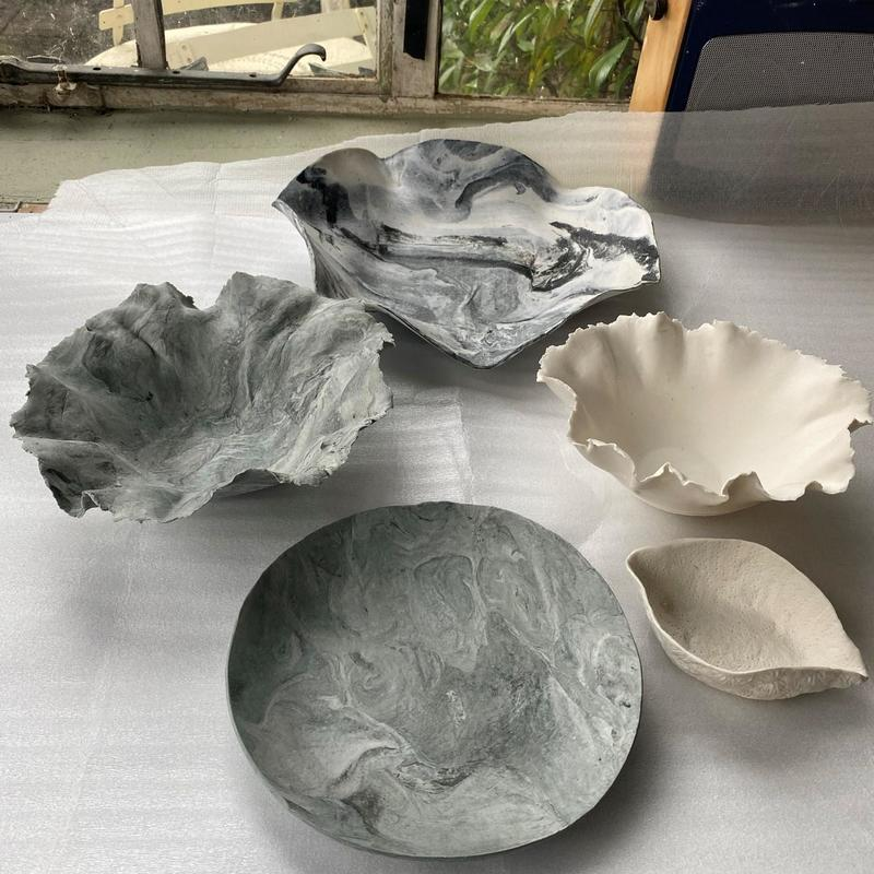 Marbled dishes and bowls