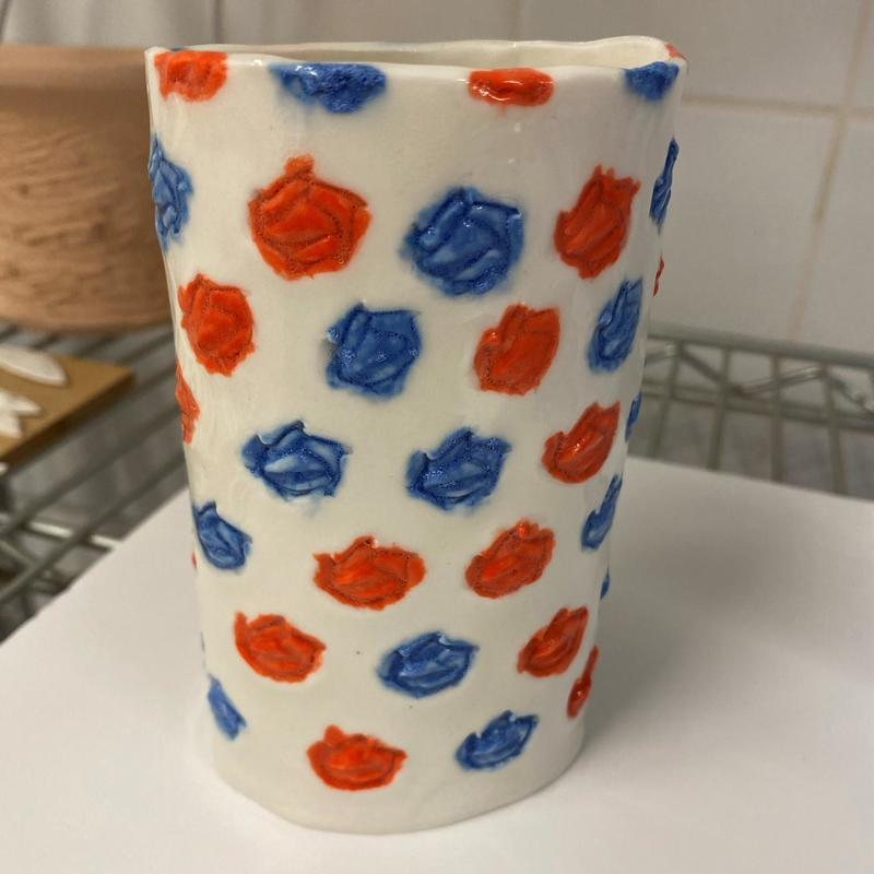Red and blue patterned vase